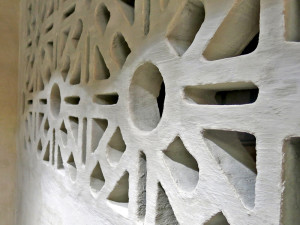 Terracrete blocks give the wall an interesting pattern