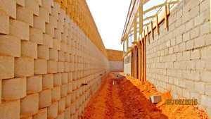 Cut slope behind the ablution block is retained with Terraforce blocks