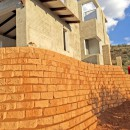 Terraforce rock face retaining wall under construction in Windhoek, Namibia