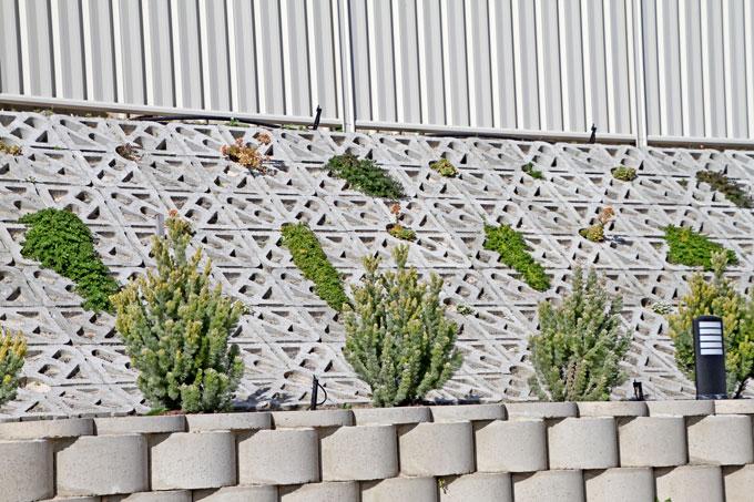 Terracrete hard-lawn blocks used for slope erosion control