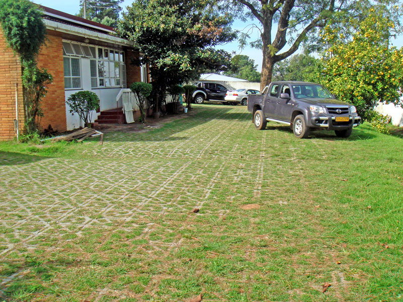 Grassed Terracrete blocks for a garden and parking