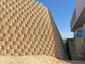 Terraforce walls providing erosion control at Puma warehouse and headquarters