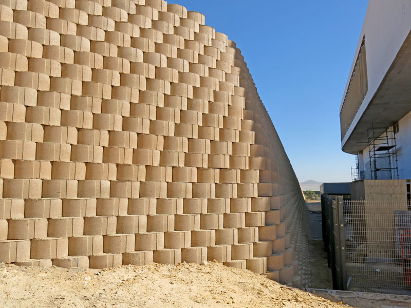Terraforce walls providing erosion control at Puma warehouse and headquarters