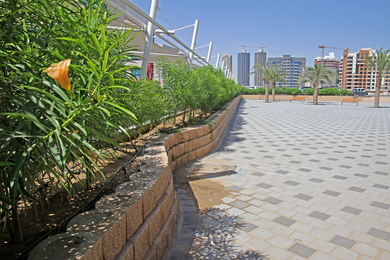 Another Terraforce wall at Silicon Oasis, Dubai, bordering a park