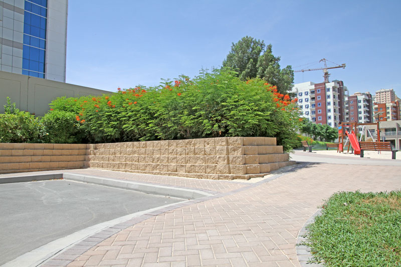 Terraforce retaining walls for recreational outdoor areas for residents, Silicon Oasis