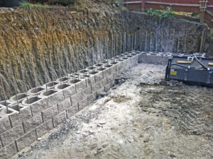 Double skin, steel rebar and concrete infill, Brackley, UK