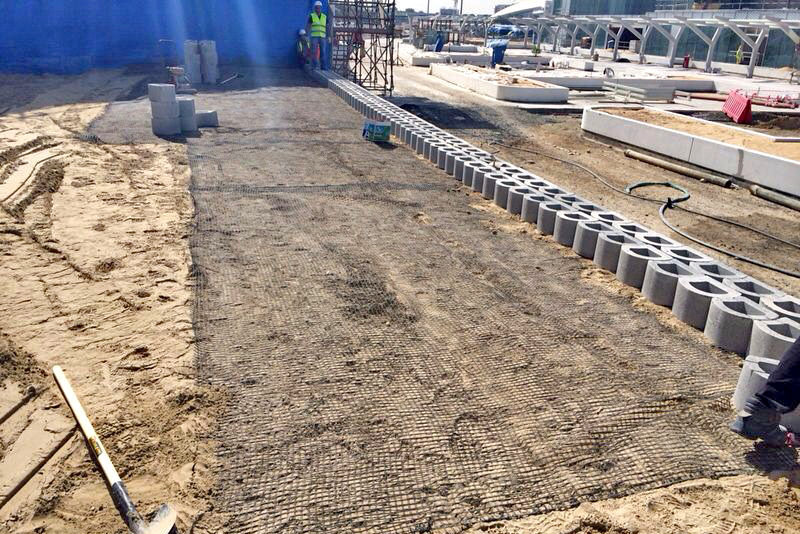 Double skin blocks and geo-grid, Jalila Children's Hospital, Dubai, UAE