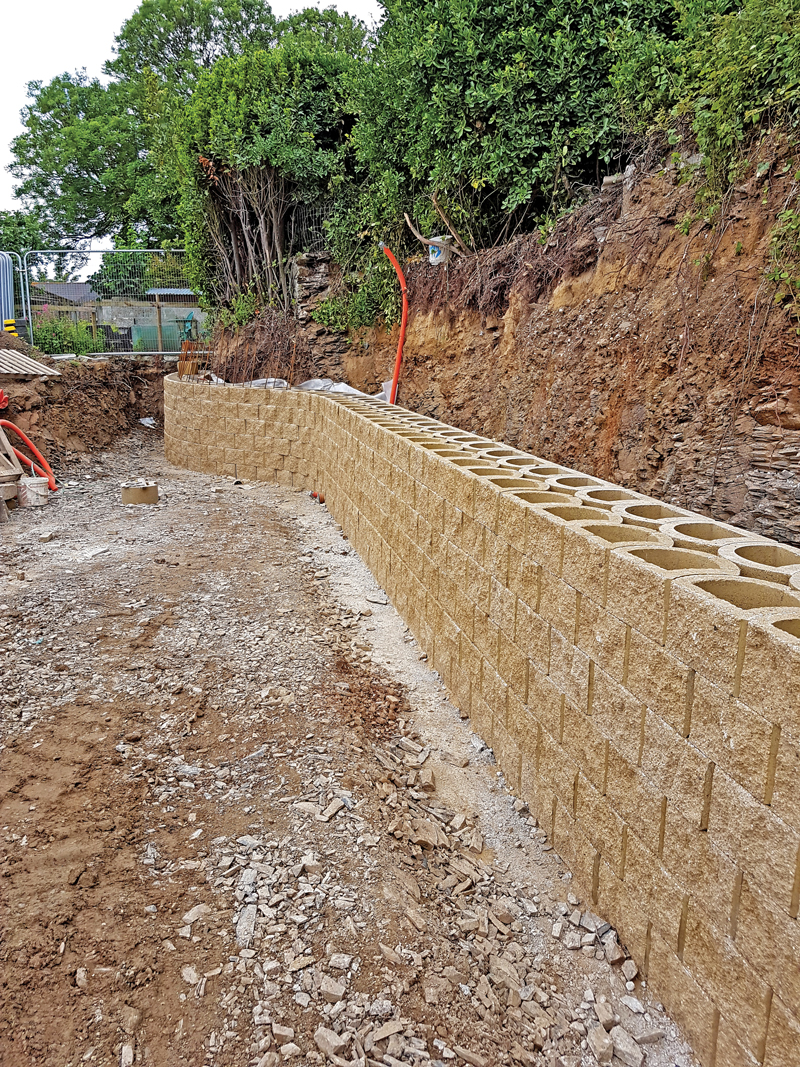 Six rows of vertical, reinforced double blocks installed.