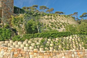 Round and rock face mix, Terraforce retaining wall