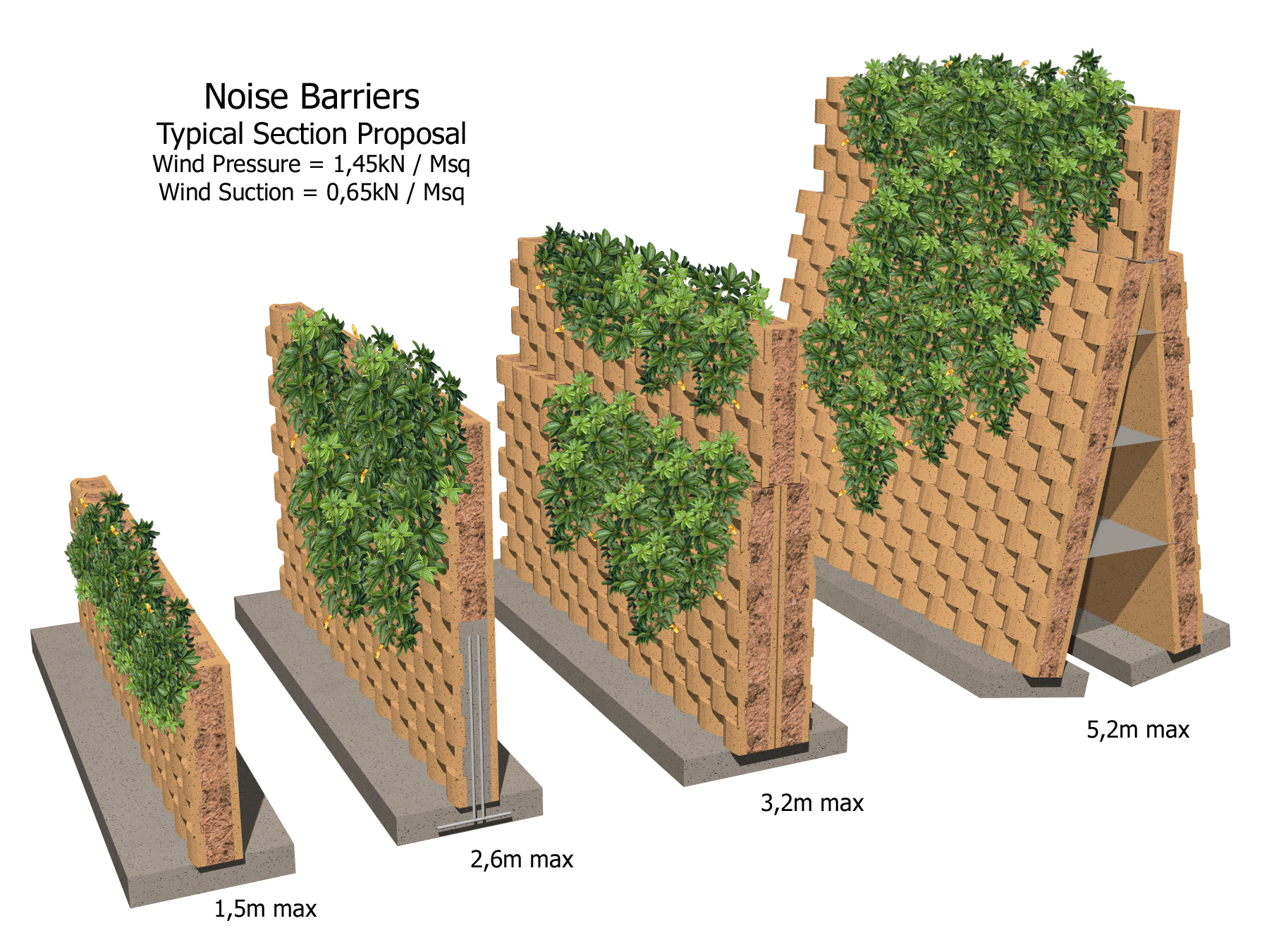 Other design options for noise barriers with Terraforce blocks