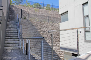Stair case, 4x4 step block, on the other side of the building.