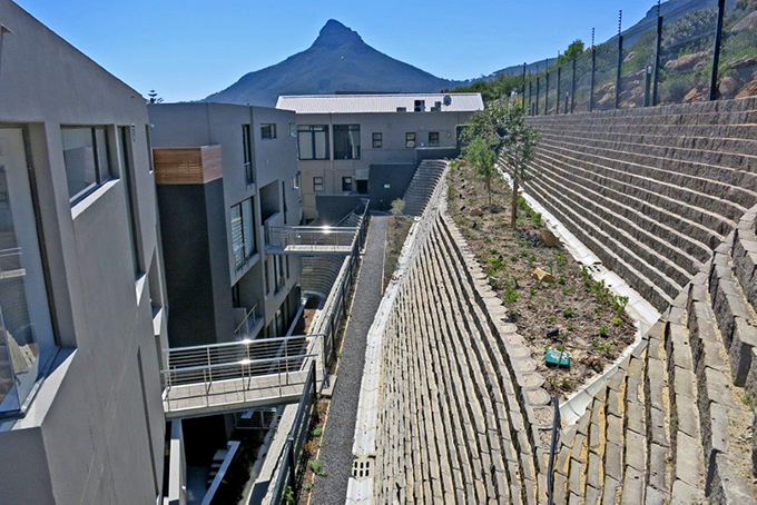 Composite, heavy duty Terraforce retaining walls, designed by Terrasafe design service