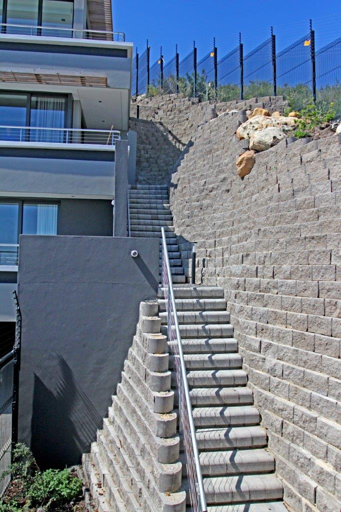 Stair case and retaining walls, designed by Terrasafe design service