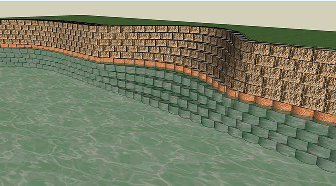 Where good rock foundations occur or on sandy beaches that can accommodate foundations, installed below lowest scour profile, Segmental Concrete Retaining Blocks may be used