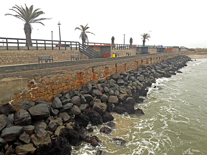 Swakopmund Mole retaining wall, with extra heavy rock rip-rap