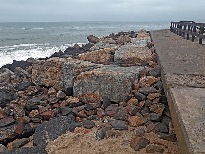 Swakopmund Mole retaining wall, with extra heavy rock rip-rap