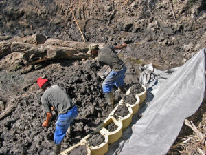 Coarse gravel in bags was placed in a shallow trench and wrapped in non-woven geofabric, which also extends behind the Terraforce L11 blocks, all the way to the top.