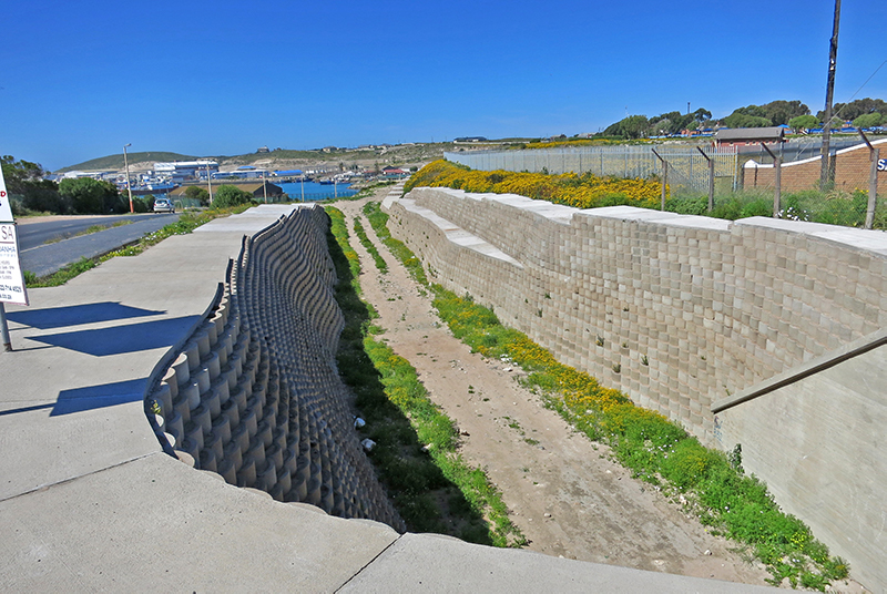 A storm water channel is included in the design