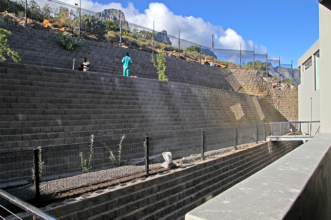 Limited space and precipitous slopes called for some specialist geotechnical engineering in the construction of some of the Terraforce concrete block wall structures