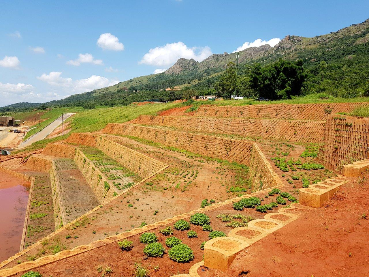 Large scale Terraforce retaining wall, Ezulwini, Swaziland, for the new International Convention Centre (ICC) commissioned by King Mswati III.