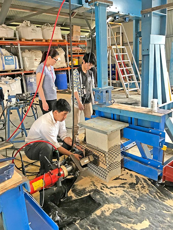 Testing of the Terraforce blocks in progress at the Curtin University, Perth