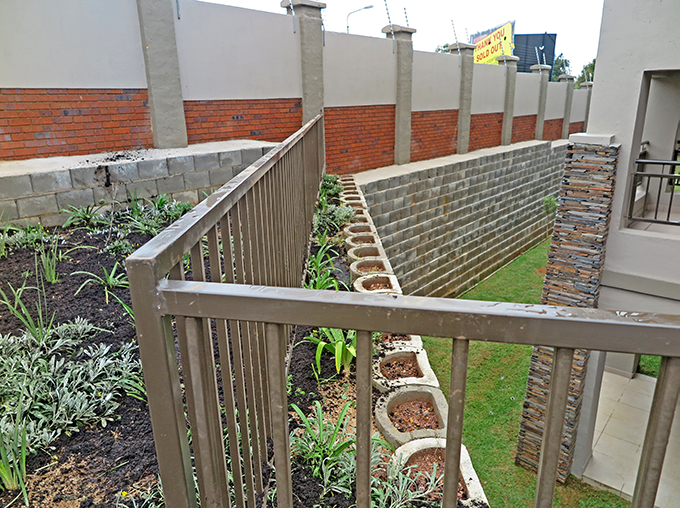 The Terraforce walls remain un-planted for less maintenance