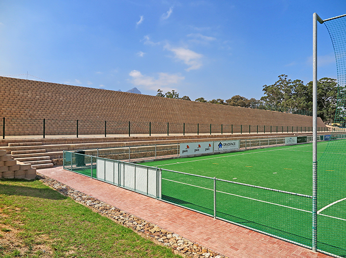 Creating space for a new sports fields on a steep slope with Terraforce
