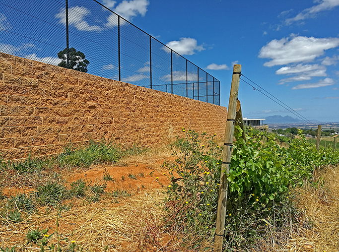 A Terraforce wall at a tennis court on the estate