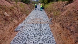 Stormwater channel lining with Terracrete, Deoville Park, Mossel Bay