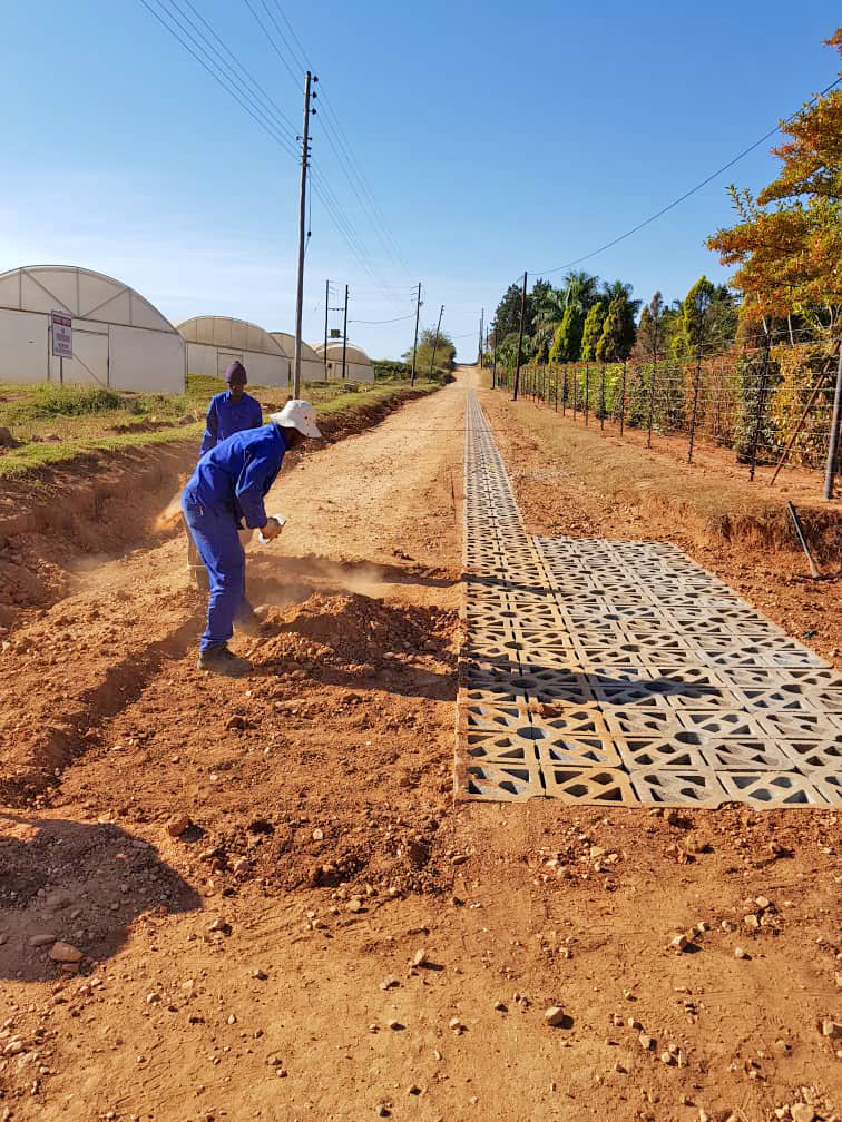 Terracrete test strip installation June 2019 in Eswatini