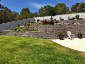 Terraforce rock face walls that gently curve along the existing site contours