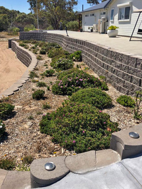 Curved terrace for planting or paving