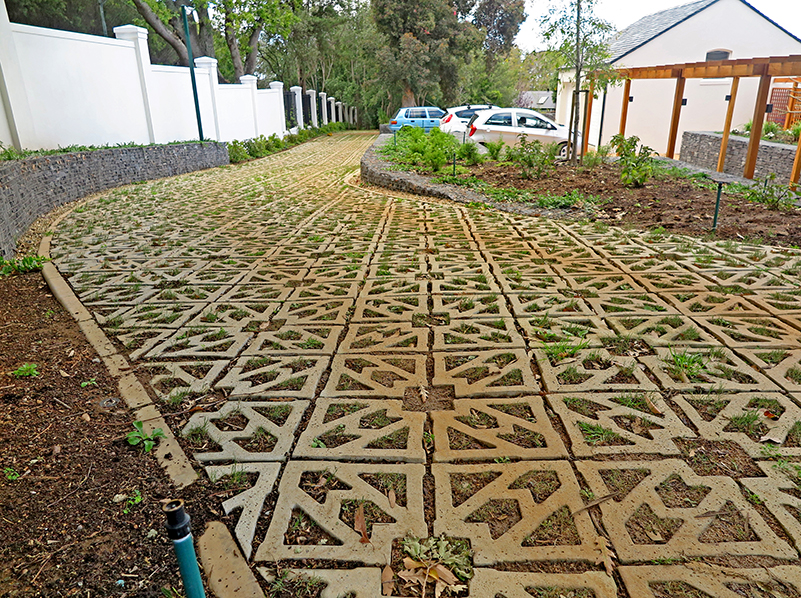 Terracrete grass paver, recently planted