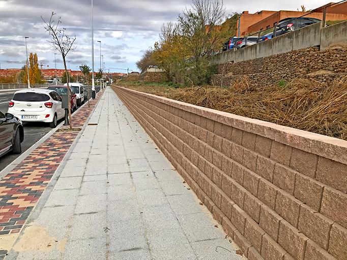 Terraforce wall running along the pedestrian strip at the hospital