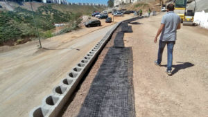 Fortrac geogrid reinforcing for the cut-slope