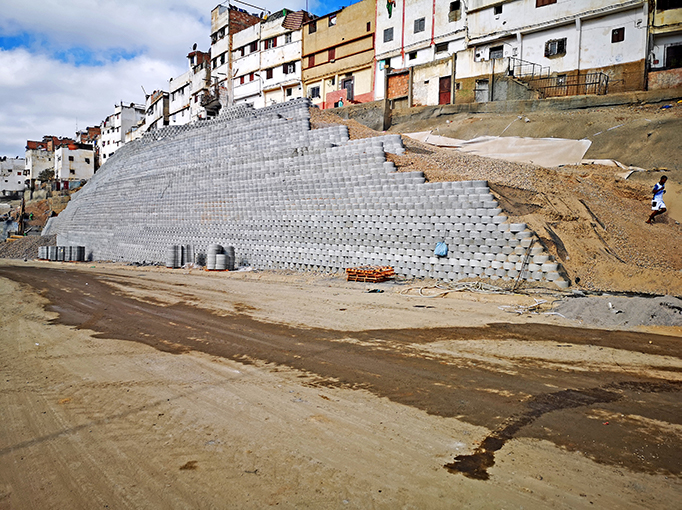 The Terraforce wall coming around the corner of the slope