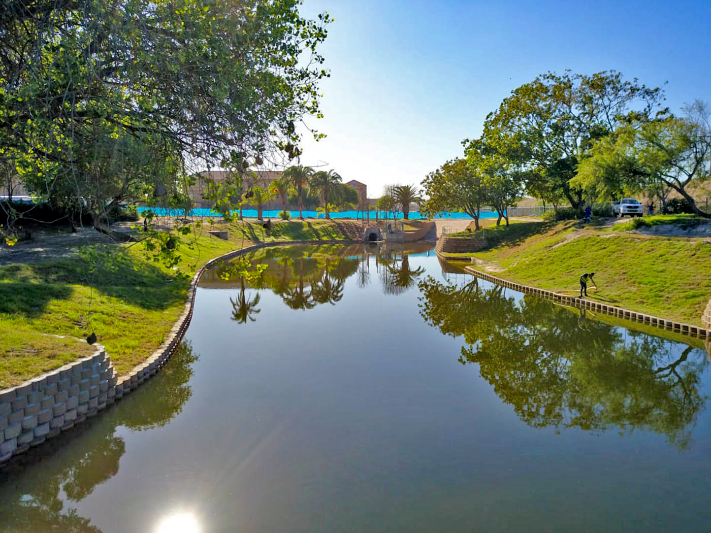 Visually the pond now showcases a lush, green, and peaceful setting that students and animals can enjoy alike.