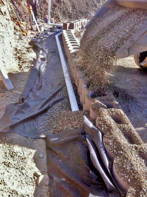 Subsoil drain and Terraforce wall