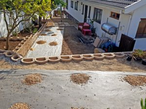 Laying the crushed stone